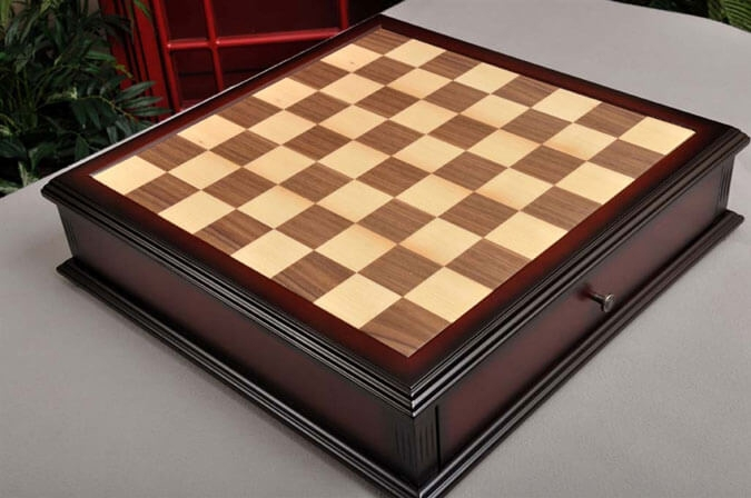 Details about USCF Sales Walnut and Maple Tiroir Chess Board with Storage  Drawers - 1 75