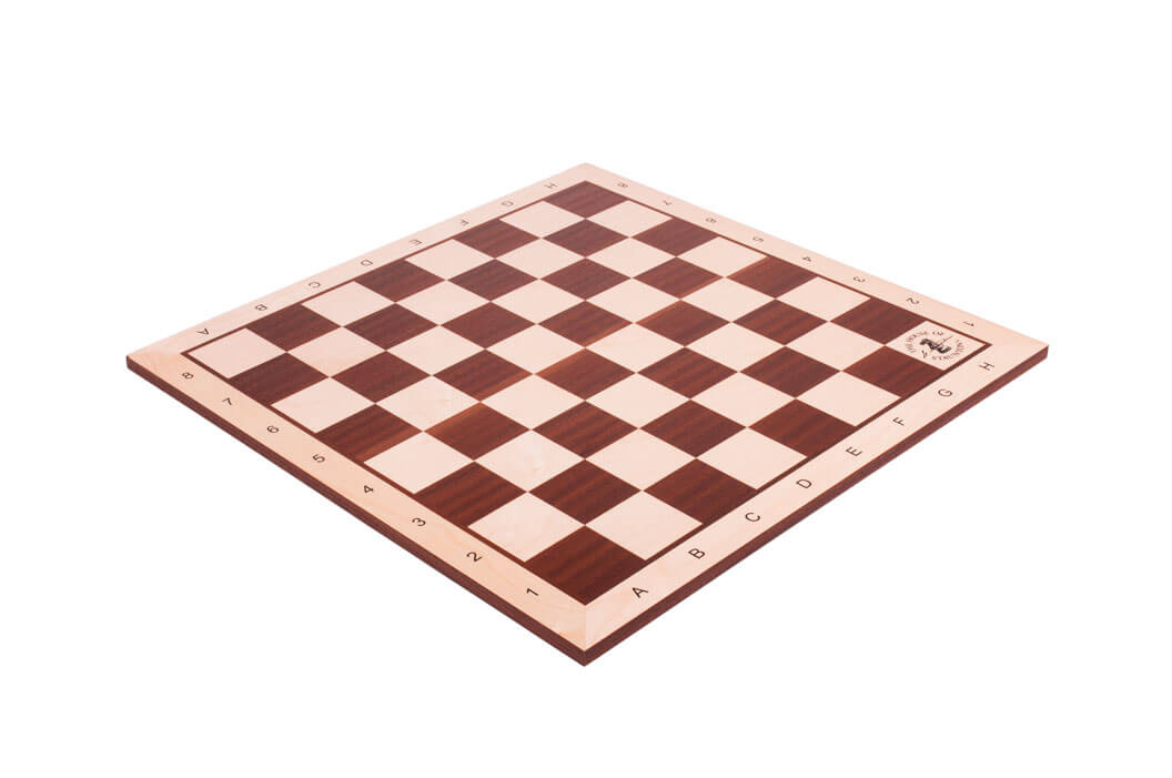"Maple /& Mahogany Wooden Chess Board 2.25/"" With Notation /& Logo"