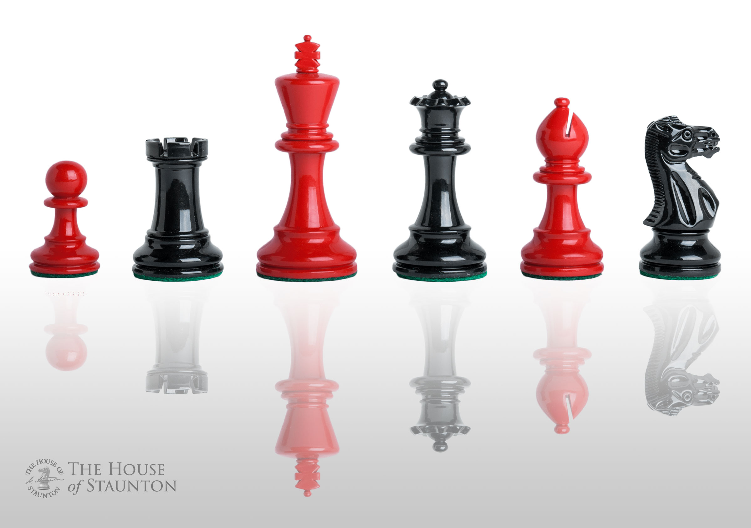 Details About The Grandmaster Regal Chess Set Pieces Only 4 0 King Black Red Lacquere