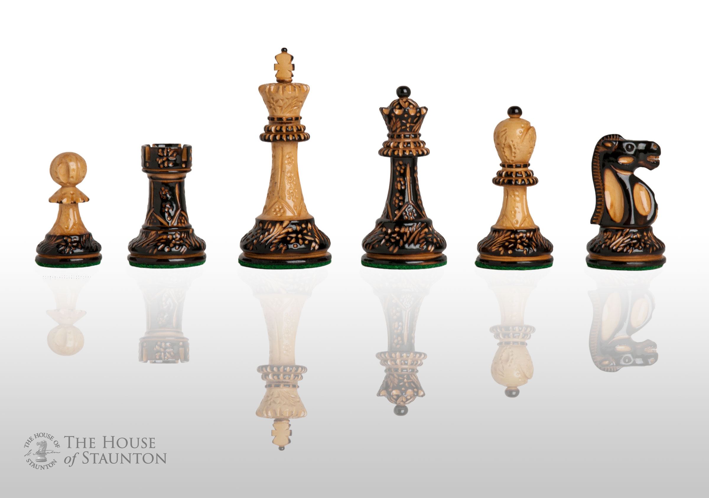 The Burnt Reykjavik II Chess Set - Pieces Only - 3.75  King