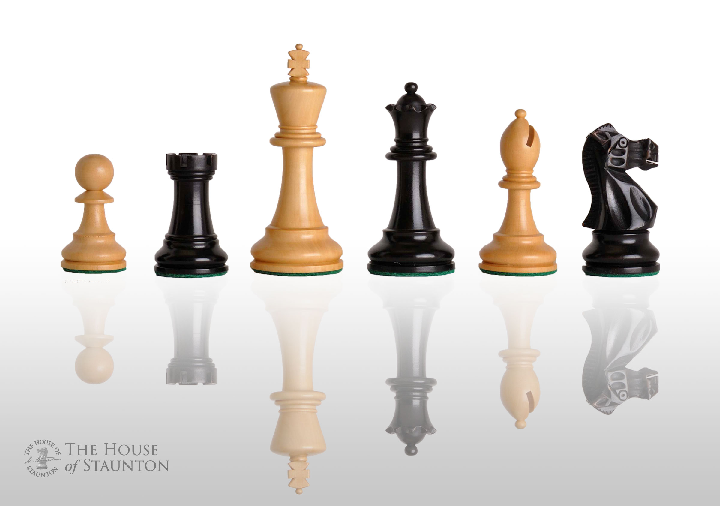 USCF Sales The Wild Knight Chess Set - Pieces Only - 4.4  King - Ebonized Boxwoo
