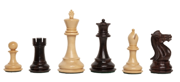 """3.75/"""" King Indian Rosewood The Noble Chess Set Pieces Only"""