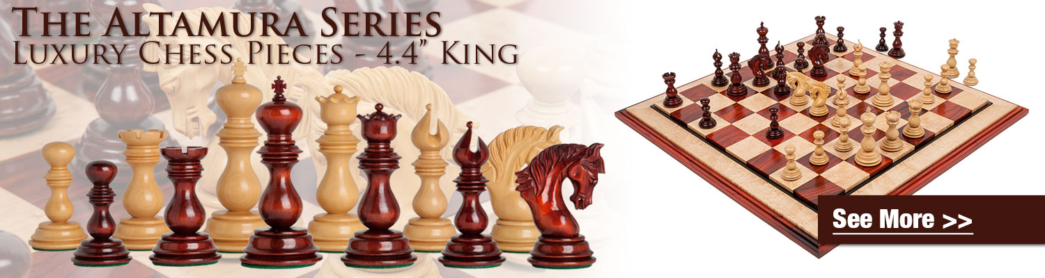 See the Altamura Series Luxury Chess Pieces now available in Blood Rosewood & Natural Boxwood at The House of Staunton!