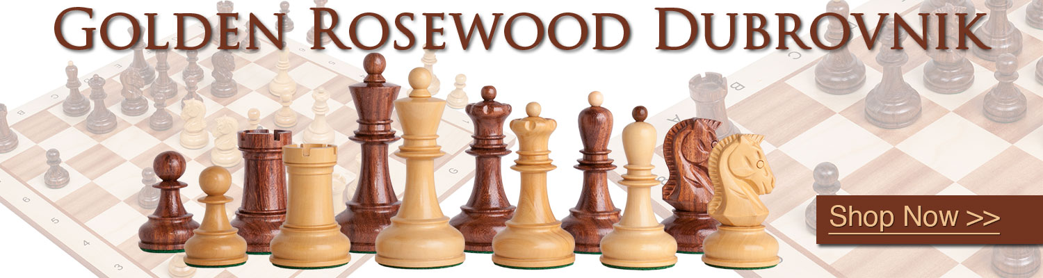 The Golden Rosewood Dubrovnik Chess Set now available at The House of Staunton