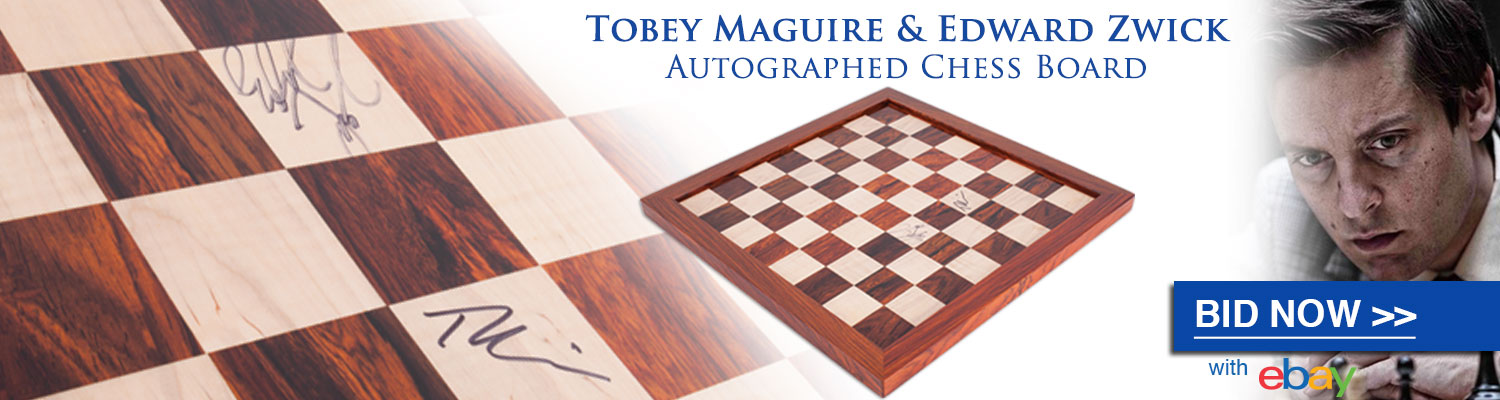 Bid now on the one-of-a-kind Traditional Chess Board signed by Tobey Maguire and Edward Zwick at the House of Staunton eBay!